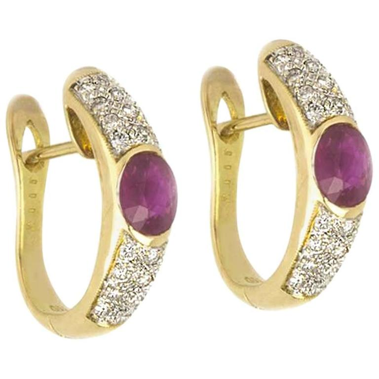 Ruby and Diamond Earrings in 18 Karat Yellow Gold For Sale
