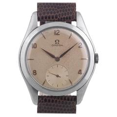 Omega Stainless Steel Cream Dial Arab Numbers Manual Wind Wristwatch