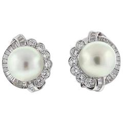 Impressive South Sea Pearl Diamond Gold Stud Earrings