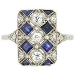 French Art Deco Sapphire and Diamond Dinner Ring, circa 1930s