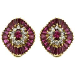 Ballerina Style 4.00 Carat Ruby and Diamond Earrings, circa 1970s