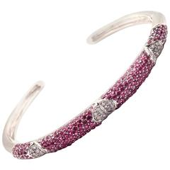 Gianni Bulgari Pink Sapphire White Gold Bangle Bracelet