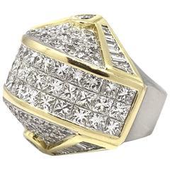 Large Geometric Diamond Dome Gold Platinum Ring