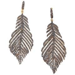 Pave`Set Diamond Gold Feather Earrings