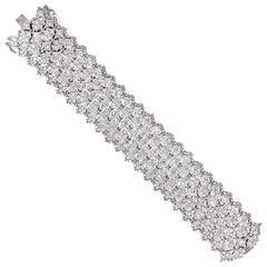 Wide Diamond Platinum Florentine Lace Bracelet