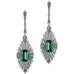 Green Tourmaline Diamond Earring