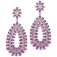 Purple Sapphire Diamond Chandelier Earrings