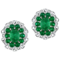Emerald Pear Shape Diamond Earrings