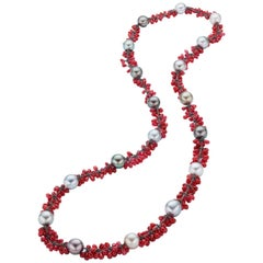 Tahitian Pearl Red Spinel Bead Necklace