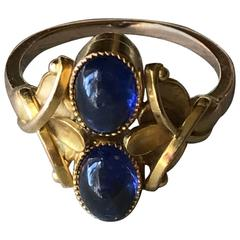 Georg Jensen Gold Ring with Vibrant Sapphire Cabochons