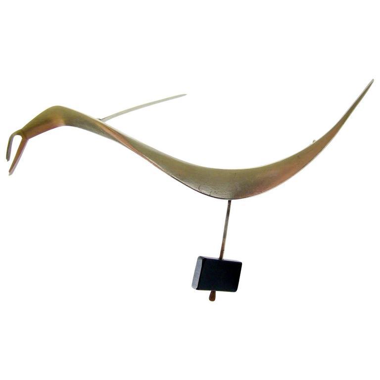 Betty Cooke Sterling Silver Modernist Bird Brooch