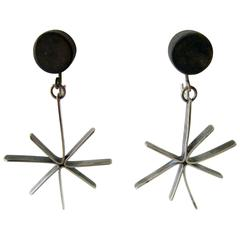 Betty Cooke Wood Sterling Silver Starburst Earrings