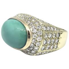 Turquoise Diamond Yellow Gold Dome Ring