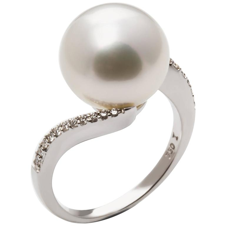 infinity rose gold pearl diamond halo engagement pearls akoya ring seawater twisted
