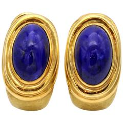 Hammered Gold and Lapis Lazuli Clip-On Earrings