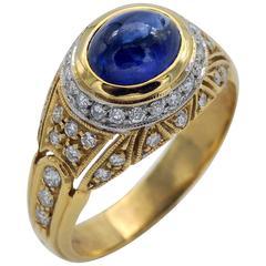 Sapphire Diamond Gold Dome Ring