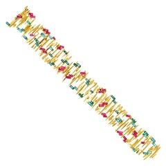Gubelin Abstract Motif Tourmaline Set Gold Bracelet