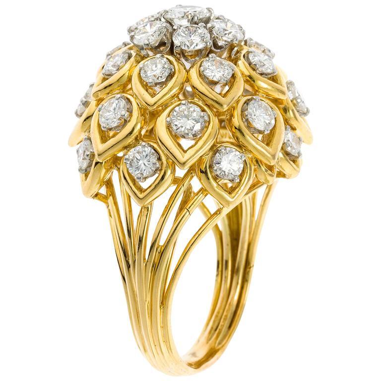 David Webb Diamond Yellow Gold Cocktail Ring