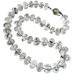 Tourmilated Quartz Polki Diamond Clasp Matinee Necklace