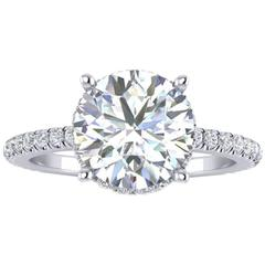 Ferrucci GIA Certified 2.03 Carat Round Diamond Platinum Ring