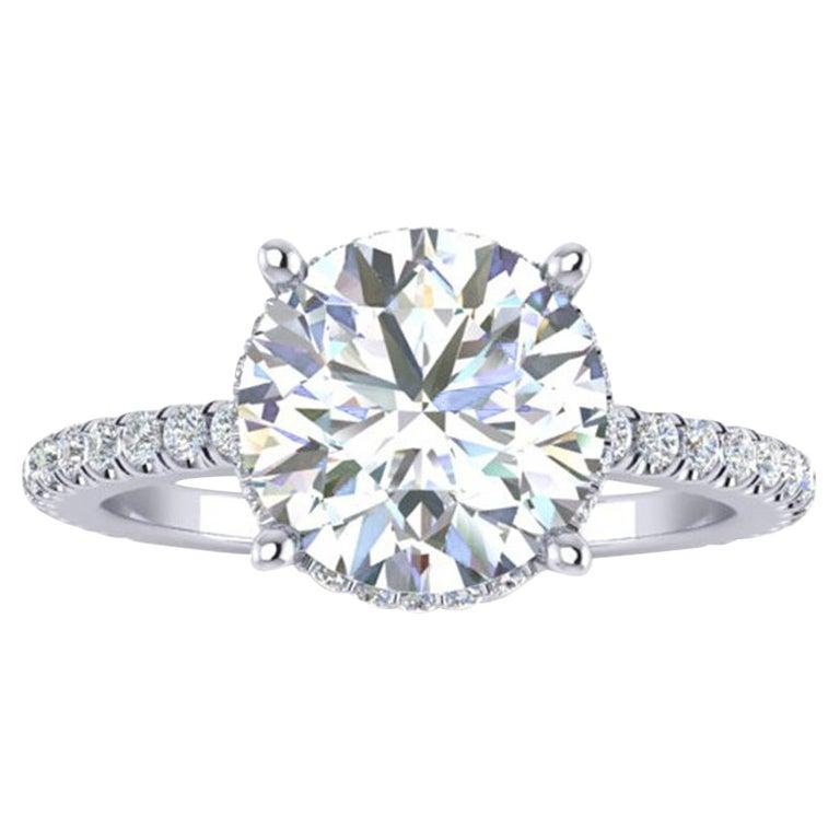 GIA Certified 2.01 Carat Round Diamond  E Color, VVS1 Clarity Platinum 950 Ring