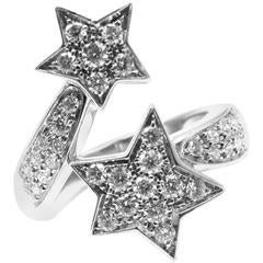 Chanel Comete Diamond Double Star White Gold Ring