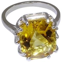 Rectangular Honey Color Citrine and Sterling Silver Ring