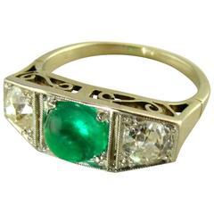 Art Deco Emerald Diamond Platinum Three-Stone Ring
