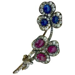 French Antique Sapphire Ruby Diamond Silver Gold Brooch