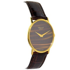 Chopard Yellow Gold Tiger Eye Dress Manual Wristwatch