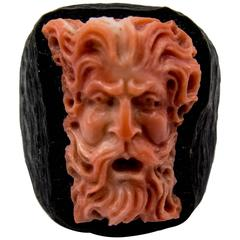 Unusual Carved Coral and Wood Ring