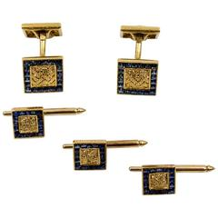 Laykin & Co French Sapphire Yellow Gold Dress Set