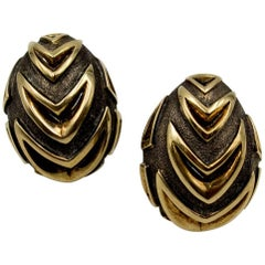 Chic Marilyn F Cooperman Silver Gold Earclips