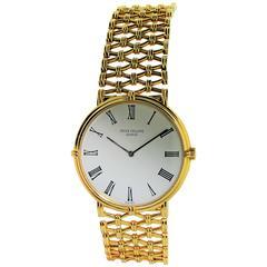 Patek Philippe 18 Karat Yellow Gold Men's Screw Back Bracelet Wristwatch