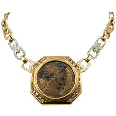 Carlo Weingrill Ancient Coin Diamond Gold Necklace