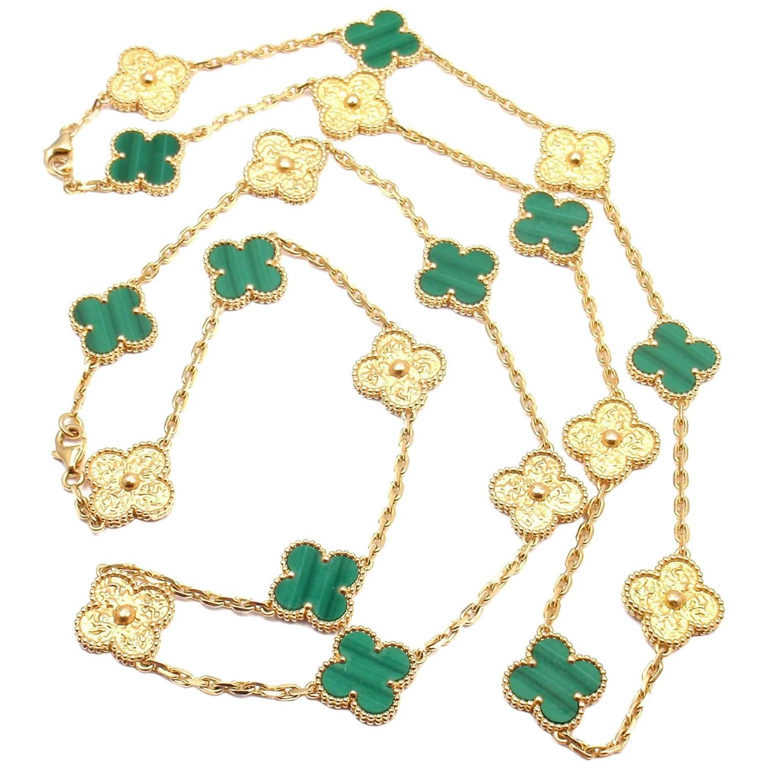 Yafa signed jewels new york ny 1stdibs page 4 - Van Cleef Amp Arpels Vintage Alhambra Set Of Two Malachite Yellow Gold Necklaces