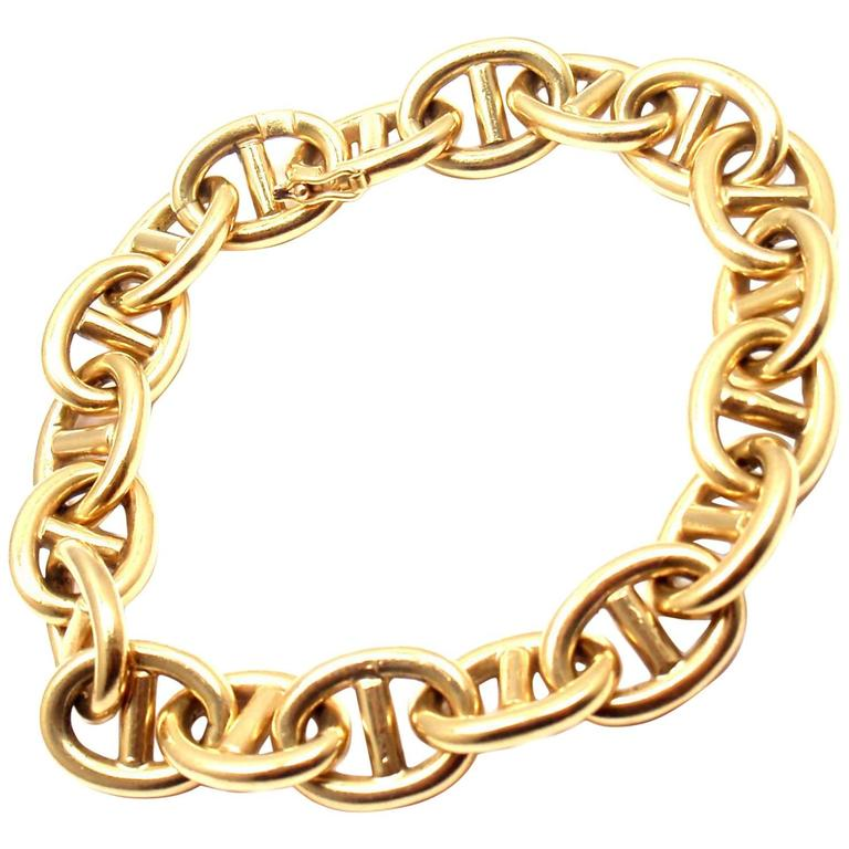 1960s French Solid Yellow Gold Anchor Link Bracelet