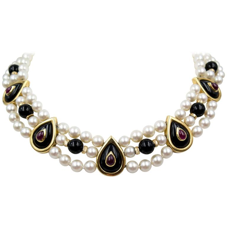 Triple row ruby onyx pearl decorative gold necklace for for Triple j fine jewelry