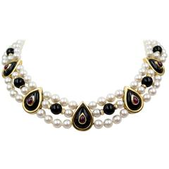 Triple Row Ruby Onyx Pearl Decorative Gold Necklace