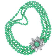 Natural Jadeite and Diamond Necklace with Detachable Brooch
