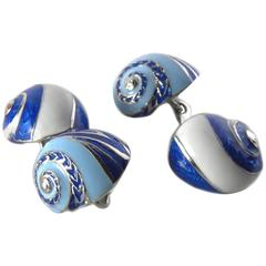 Unique Hand Enameled Seashell Shaped Sterling Silver Cufflinks