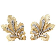 Buccellati 18 Karat Yellow Gold Round Brilliant Cut Diamond Leaf Design Earrings