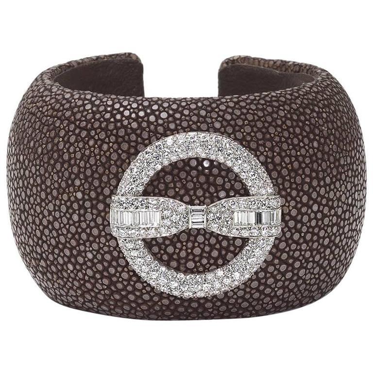 Diamond Cuff Bow Brooch Bangle Bracelet
