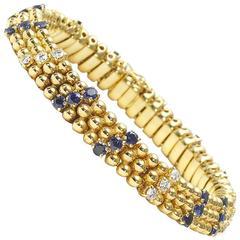 Sapphire Diamond gold bead Bracelet