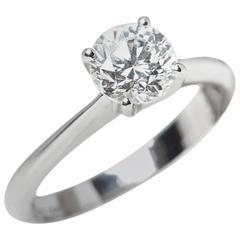 GIA Certified Round Brilliant Cut 1.00 Carat Diamond Platinum Engagement Ring