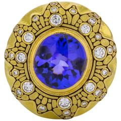 Alex Sepkus Blue Tanzanite Diamond gold Pin Pendant