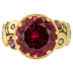 Red Tourmaline, Sapphire and Diamond Ring