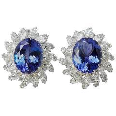 Tanzanite Diamond White Gold Dress Earrings