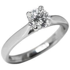 Round Brilliant Cut 0.50 Carat Diamond Platinum Engagement Ring