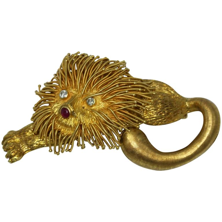 Lalaounis Ruby Diamond Gold Lion Brooch